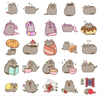 pussheen stickers cat love