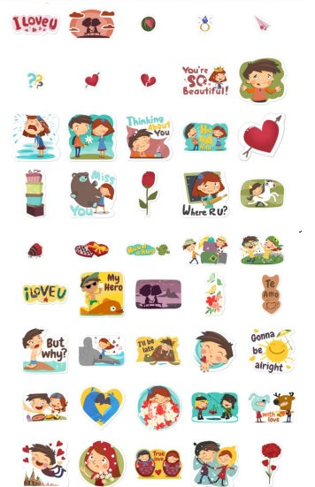 young love kiss stickers