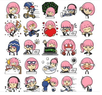 techno girl stickers telegram