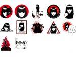 Black red stickers telegram