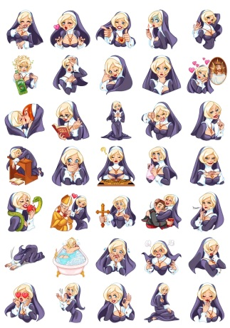 Naughty Nun and BlondeNun Telegram Stickers