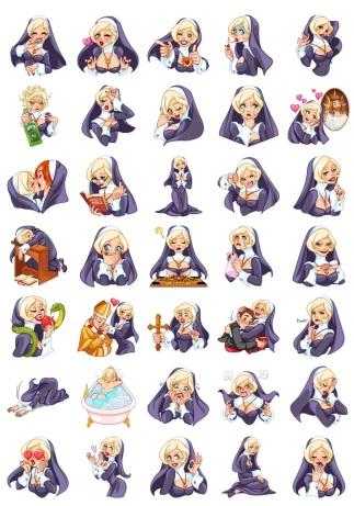Naughty Nun and BlondeNun Telegram Stickers